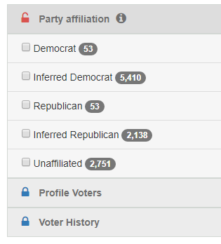 select party affiliation as voter list filter