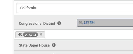 Select congressional district as part of filter for voter list